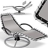 KESSER® Sonnenliege 'Bali' Liegestuhl 360° Schwingliege, Gartenliege, Relaxliege inkl. Kissen pflegeleicht, wetterbeständig, Comfort-Schwingbewegung, Liege stabiles Stahlrohr, Grau