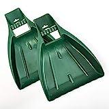 UPP Laubgreifer 2-teilig aus TOP-Qualitätskunststoff   Ergonomischer Laubsammler/Laubschaufel/Gras- & Laubrechen für sauberes, schnelles & einfaches Aufsammeln von Laub/Verschnitt/Gartenabfälle   grün