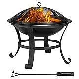 Yaheetech Garten Feuerstelle mit Funkenschutz & Schürhaken- 54 x 49.5cm (Dx H)- Vierbeine Feuerschale auf Ihrer Terrase- Formstabil- Outdoor Feuerkorb schwarz