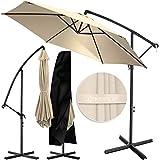 KESSER® Alu Ampelschirm Sonnenschirm Ø 350 cm mit Kurbelvorrichtung UV-Schutz Aluminium Wasserabweisende Bespannung - Schirm Gartenschirm Marktschirm Beige