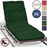 Beautissu Auflage für Garten-Liege Flair RL 190x60x8cm Sitz-Polster für Sonnenliege Schaumflocken-Füllung Dunkelgrün erhältlich