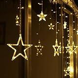 LED Lichterkette mit 12 Sterne, 138 LEDs Lichtervorhang weihnachtslichter Sternenvorhang 8 Modi Für Innen Außen, Sterne Vorhang Lichter, Weihnachten, Party, Hochzeit, Garten, Balkon, Deko(Warmweiß)