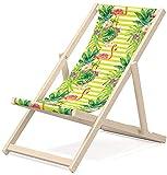 Klappbarer Gartenliegestuhl OUTENTIN, Liegestuhl aus Holz, Liegestuhl, Liegesessel, entspannender Liegestuhl, Verschiedene einzigartige Designs, für Erwachsene, Motiv:Grüne Blätter