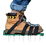 Kitclan 4 Riemen Rasenlüfter Schuhe, Rasenbelüfter Sandalen 5 cm Lange Bodennägeln für Haus und Garten (1 Paar) Grün