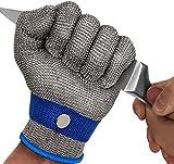 OKAWADACH Schnittschutz Handschuhe, Schnittschutzhandschuhe Edelstahl-Metal Mesh Metzgerhandschuh mit,Schutzgrad 5 (L)