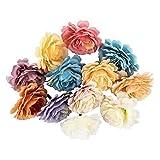 Ideen mit Herz Deko-Blüten, Kunstblumen, Blüten-Köpfe, Verschiedene Sorten, ca. Ø 4-5 cm (Buschrose - bunt - 12 Stück)