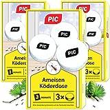 PIC - Ameisenköder-Dose - Ameisenköder für Innen, Terrasse, Balkon und Keller - Bekämpft das ganze Ameisennest (9 Dosen)