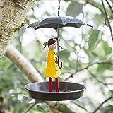 garden mile® Vogeltränke aus Metall im Vintage-Stil, mit Kette, für Wildvögel, rustikaler Antik-Look, mit Haken zum Aufhängen, hängende Gartendekoration
