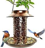 Solar Vogelfutterstation zum Aufhängen, für Wildvögel Finken, Kardinal, Bluebirds mit robust hohl Kupfer solarbetrieben Gartenlicht Vogelsamen Tablett
