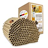 wildtier herz I 200 ÖKO Nisthülsen für Wildbienen Ø 8mm, Länge 15cm inkl. E-Book von Biologen, Pappröhrchen für Insektenhotel aus Papier & Gras, Niströhren Füllmaterial Bienen