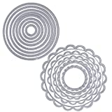 13 Stück Metall Kreis Form Stanzschablonen Metall Schneiden Schablonen Stanzformen Silber für DIY Scrapbooking Album, Schneiden Schablonen Papier Karten Sammelalbum Deko