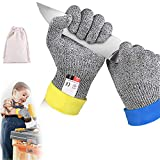 Dzsee Schnittfeste Handschuhe Kinder, Arbeitshandschuhe Kinder, Handschuhe für Gartenbau, Leistungsfähiger Level 5 Schutz, lebensmittelecht, Messer zu schärfen,Holz zu schnitzen (XXS)