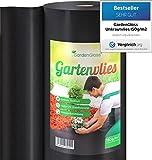 GardenGloss® 50m² Unkrautvlies Gartenvlies 150g/m² Extra Stark gegen Unkraut – Extrem Reissfest und Hohe UV-Stabilisierung – Unkrautfolie Wasserdurchlässig (50m x 1m, 1 Rolle)