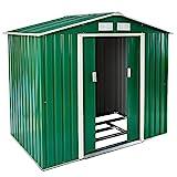 TecTake Metall Gerätehaus Gartenhaus Satteldach | Metall-Fundament | Diverse Farben und Modelle (Typ 4 | Grau | Nr. 402569)