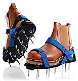 Briliantwerk®️ Nagelschuhe mit Klettverschluss - Verwendbar als Rasenbelüfter oder Estrichschuhe - Rasenlüfter Schuhe für perfektes Aerifizieren - inkl. Zwei Nagellängen (Blau)