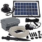 Agora-Tec® at-Solar Bachlaufpumpen - Set 3.5W-BLH mit Akku und 3- Fach LED Ring inklusive 5 Meter Bachlaufschlauch und LED Halterung, Hmax.: 210l/h Förderhöhe: 1,00 m bei Verwendung eines Schlauches