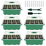Your's Bath 5 Stücke Zimmergewächshaus Anzuchtkasten,Mini Gewächshaus Anzucht Set,Kunststoff Anzuchtschalen mit Gartengeräte Klein und Pflanzenetikett,12 Löchern, Ideal für Sämling Pflanze Aufzucht