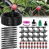 solawill Bewässerungssystem, 95 PCS Bewässerung Kit 25M Garten Micro Drip Bewässerung 1/4' Schlauch Gewächshaus Sprinkler Tröpfchenbewässerung DIY Gartenbewässerung für Garten,Obstbäume,Topfpflanzen