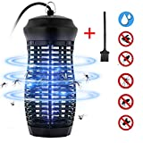 Zenoplige Insektenvernichter, Elektrischer Mückenlampe IPX4 wasserdichte Insektenfalle, 9W Leuchtstoffröhre Effektive Bekämpfung von Fliegenden Insekten Für Innen Schlafzimmer (Schwarz)