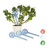 Relaxdays Bewässerungskugeln, 4er Set, Dosierte Bewässerung, 2 Wochen, Versenkbar, Deko, Topfpflanzen, Kunststoff, Blau