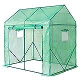 Yorbay Foliengewächshaus Gewächshaus für Tomaten, mit Gitternetzfolie und Fernster für Garten zur Aufzucht, spitzdach, Grün, 200 x 140 x 200cm (LxBxH)