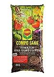 Compo SANA Tomaten- und Gemüseerde mit 12 Wochen Dünger für alle Gemüsekulturen, Kultursubstrat, 20 Liter, braun