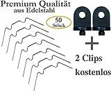 KRONLY 50 Stück Gewächshaus Klammern aus Edelstahl rostfrei sturmfest kompatibel Set für Hohlkammerplatten Doppelstegplatten Gewächshausklammern + 2 Gewächshausclips gratis