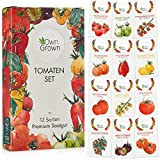 Tomaten Samen Set mit 12 Sorten Tomatensamen für Garten und Balkon: Premium Tomaten Anzuchtset – Köstliche, bunte und alte Tomatensorten von OwnGrown – Garten Samen Gemüse als praktisches Tomaten Set