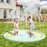 Anpro 170CM Splash Pad, Sprinkler Wasser-Spielmatte Splash Play Matte, Sommer Garten Wasserspielzeug für Baby, Kinder, Hund und Haustiere