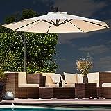 Swing&Harmonie Sonnenschirm mit LED Beleuchtung Ampelschirm 300cm / 350cm Solar Garten Schirm Pavillon (Ø 350cm, Creme)