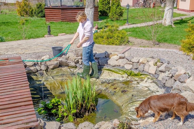 Hobby-Gärtnerin befreit ihren Teich von Schlamm im Frühling.
