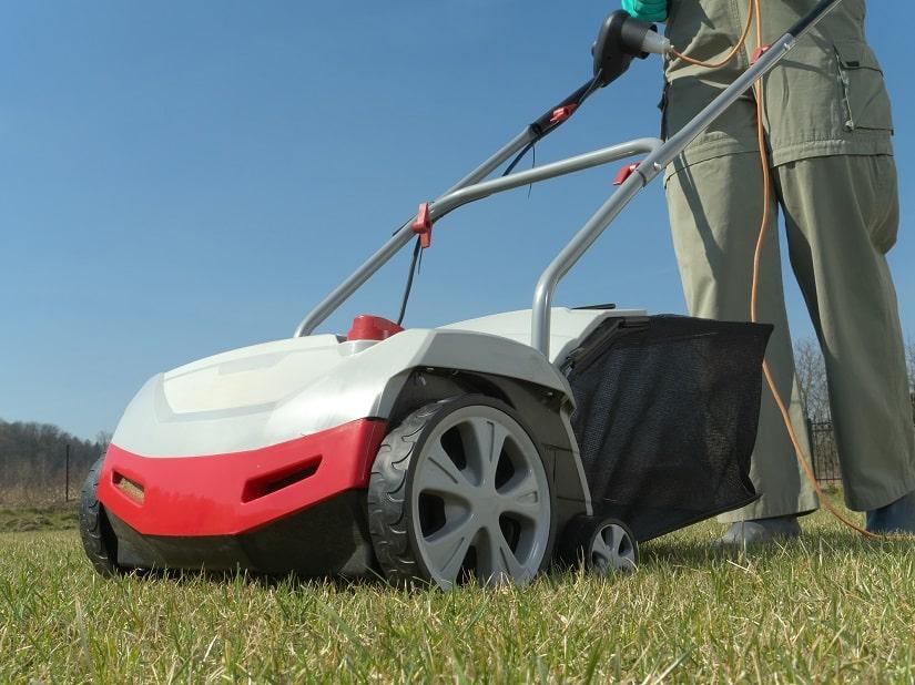 Rasen wird vertikutuert um Moosbildung zu vermeiden