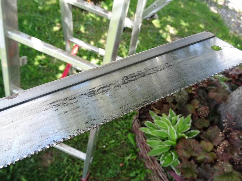 Bäume bitte nicht mit solch stumpfen Werkzeug schneiden, sondern scharfe Sägen verwenden!