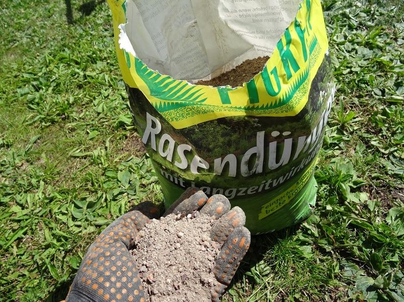 Rasen wird meist mit streufähigem Granulat gedüngt